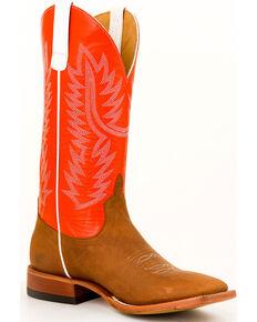 Horse Power Men's Honey Crazyhorse Leather Boots - Square Toe , Honey, hi-res