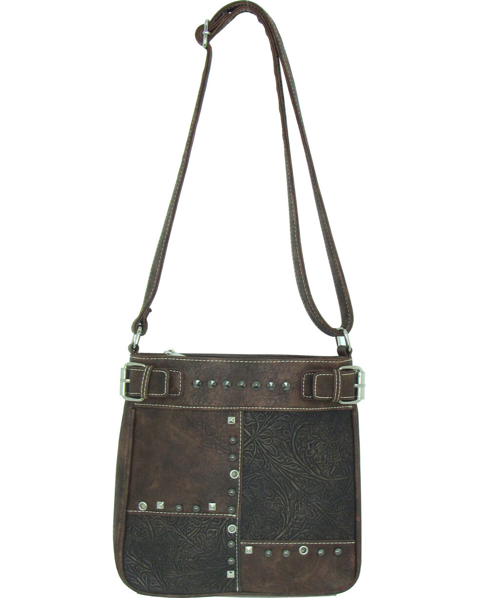 Savana Women's Faux Leather Patchwork Tote Messenger Bag , , hi-res