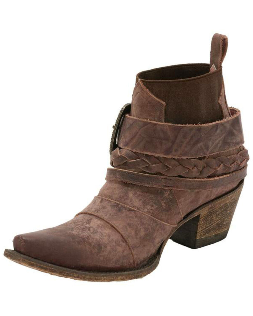 Junk Gypsy by Lane Women's HWY 237 Distressed Wine Ankle Boots - Snip Toe, Wine, hi-res