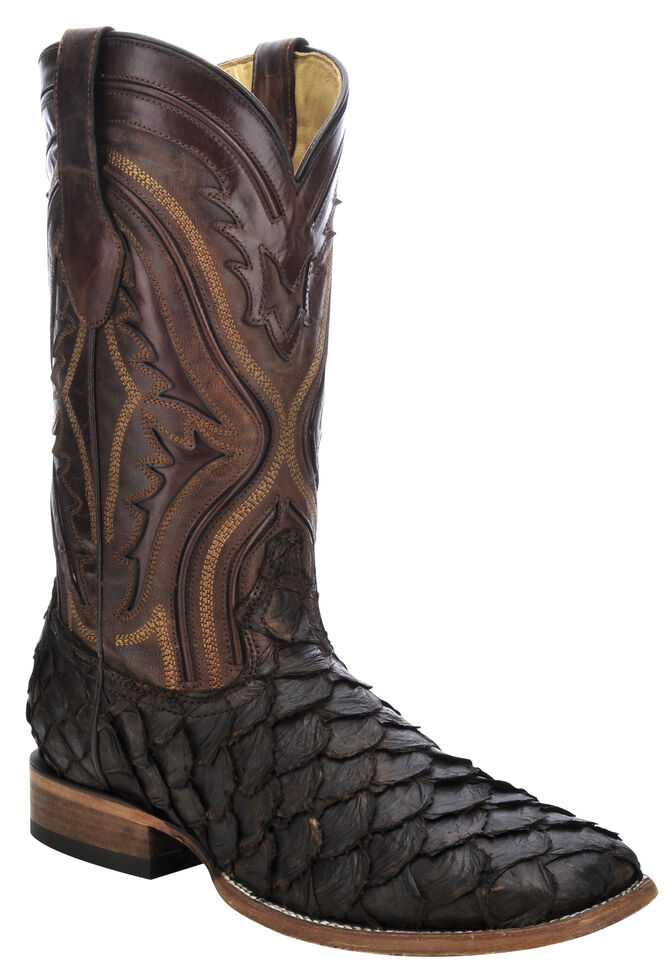 Corral Pirarucu Fish Cowboy Boots - Wide Square Toe, Chocolate, hi-res