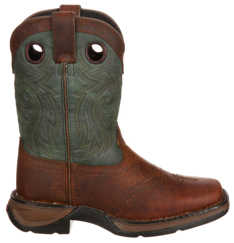 Lil' Durango Youth Saddle Western Boots - Square Toe, Dark Brown, hi-res