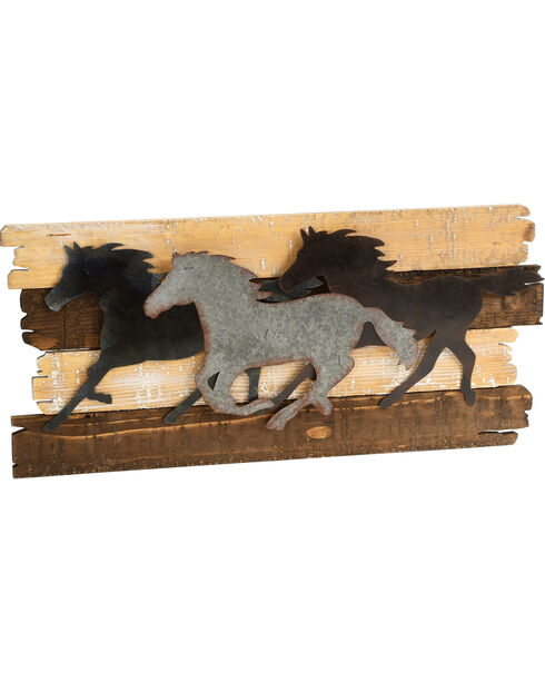 BB Ranch Running Horses Metal and Wood Wall Décor, Brown, hi-res