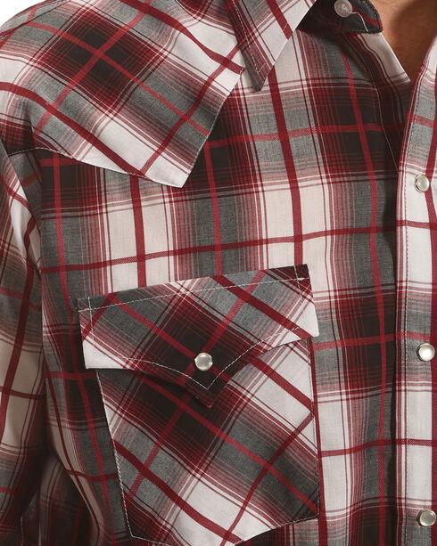 Ely Cattleman Men's Burgundy Texture Plaid Shirt , Burgundy, hi-res