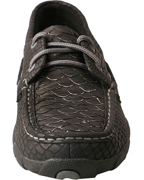 Twisted X Women's Black Fish Grey Driving Mocs - Moc Toe, Black, hi-res