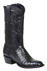 Lucchese Handmade 1883 Men's Charles Crocodile Belly Cowboy Boots - Round Toe, Black, hi-res