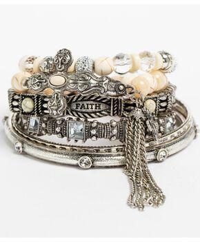 Shyanne Women's Multi Cross and Bone Bracelet Set, Ivory, hi-res