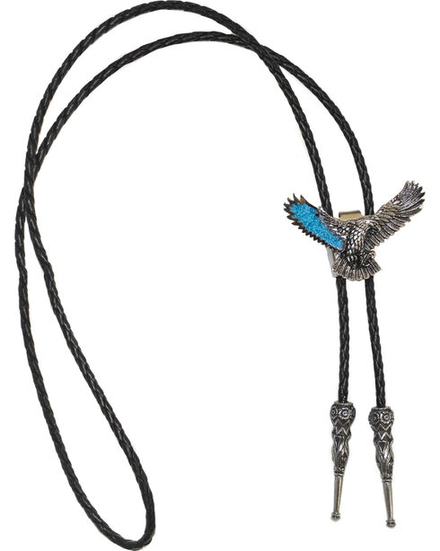 Western Express Men's Spread Eagle Turquoise Wing Bolo Tie, Silver, hi-res