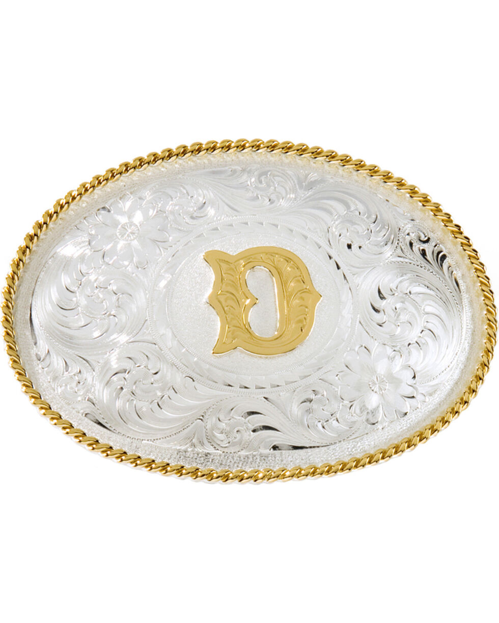 "Montana Silversmiths Initial ""D"" Buckle, Silver, hi-res"
