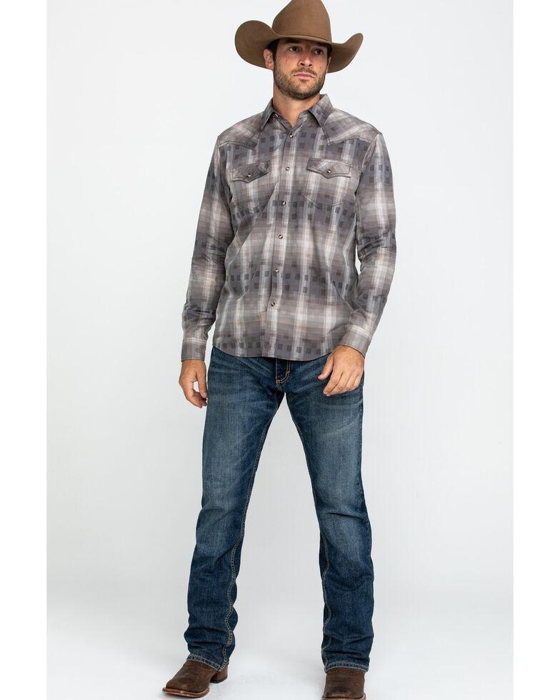 Moonshine Spirit Men's Dust Bowl Small Plaid Long Sleeve Western Shirt , Grey, hi-res