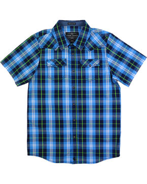 Cody James Boys' Plaid Short Sleeve Shirt, Blue, hi-res