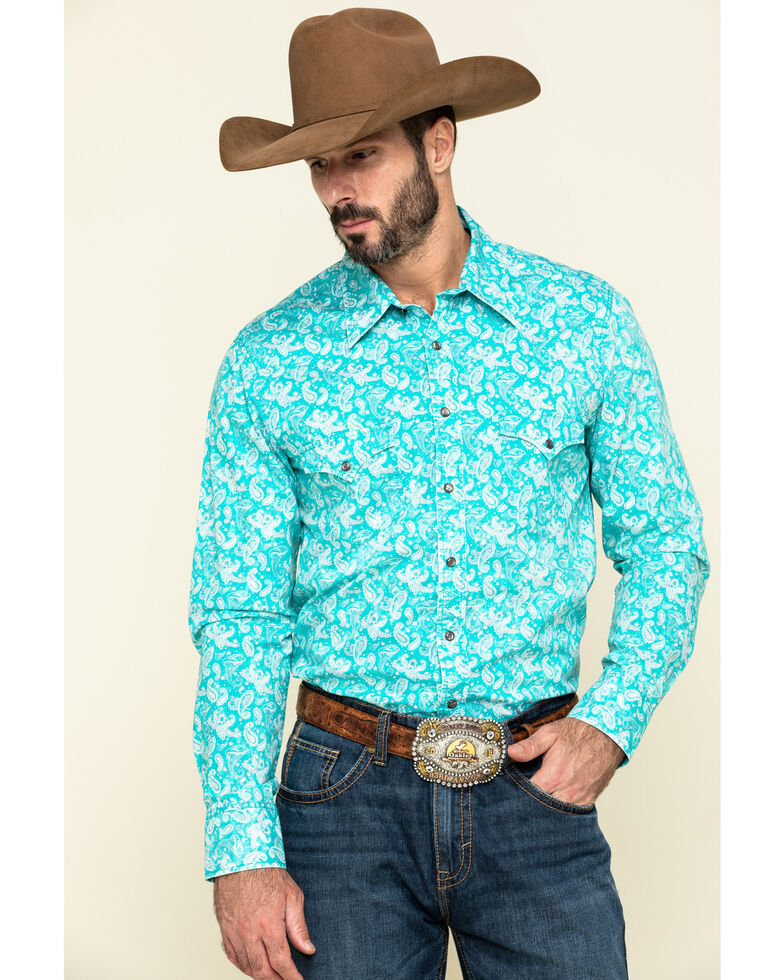 Rock & Roll Denim Men's Turquoise Paisley Print Long Sleeve Western Shirt , Teal, hi-res