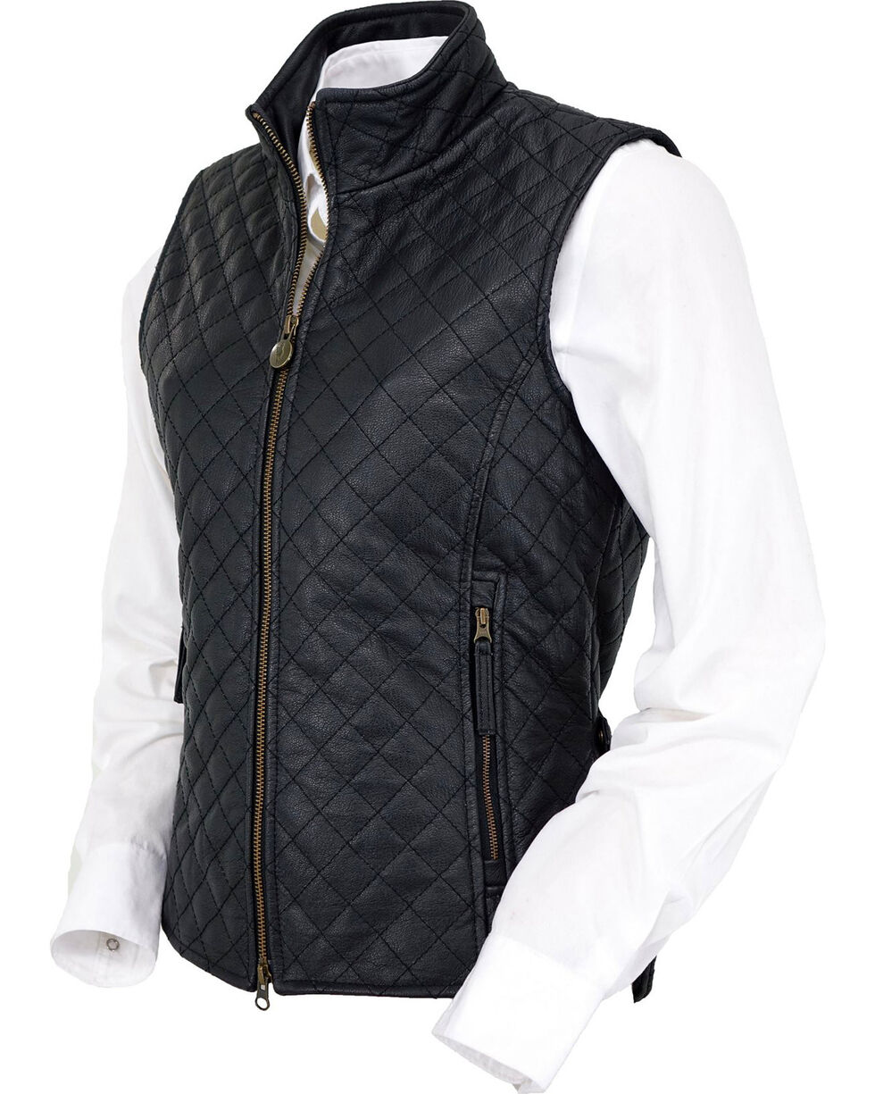 Outback Trading Co. Women's Black Bunbury Quilted Leather Vest, Black, hi-res