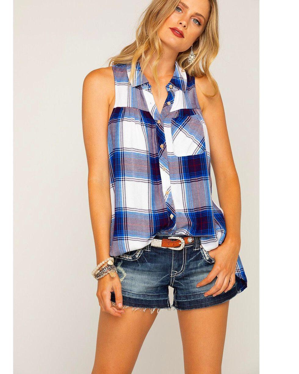 Shyanne Women's Royal Blue Plaid Sleeveless Shirt, Blue, hi-res