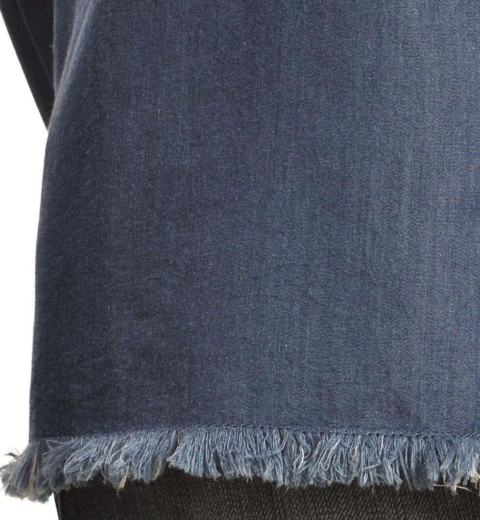 New Direction Women's Frayed Edge Denim Shirt , , hi-res