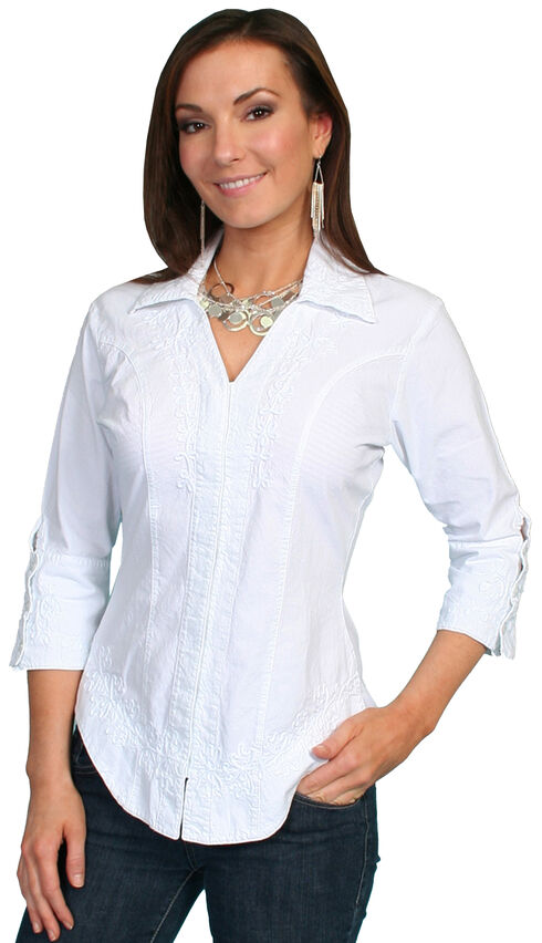 Scully 3/4 Length Sleeve Peruvian Cotton Top, White, hi-res