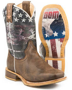 Tin Haul Youth Boys' Freedom Western Boots - Square Toe, Brown, hi-res
