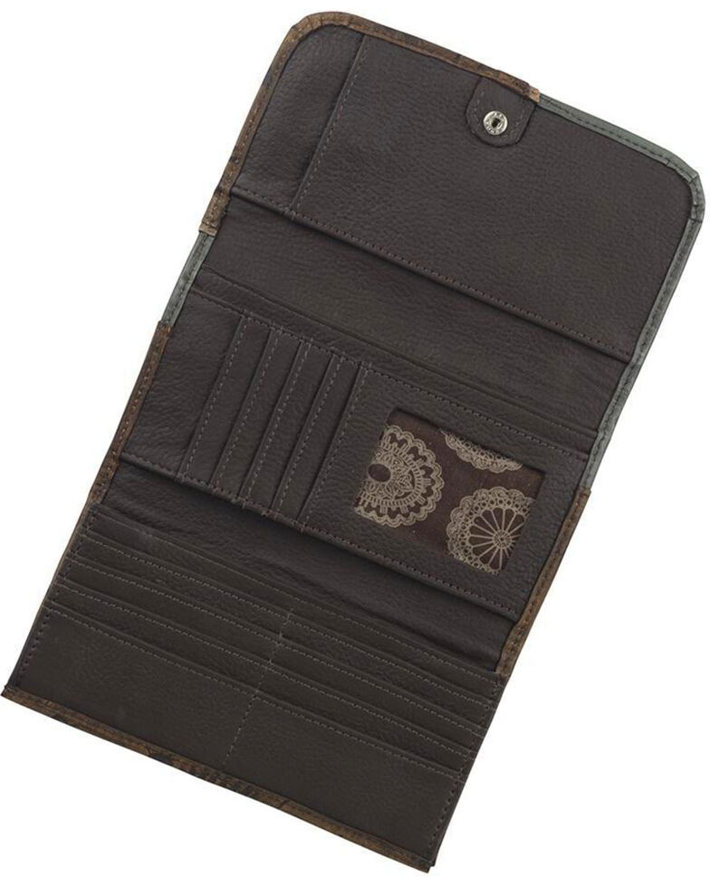 American West Women's Hand Tooled Tri-Fold Wallet, Distressed Brown, hi-res