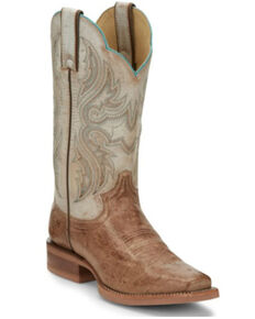 Justin Boots Women's Tan Smooth Ostrich Western Boots - Square Toe , Tan, hi-res