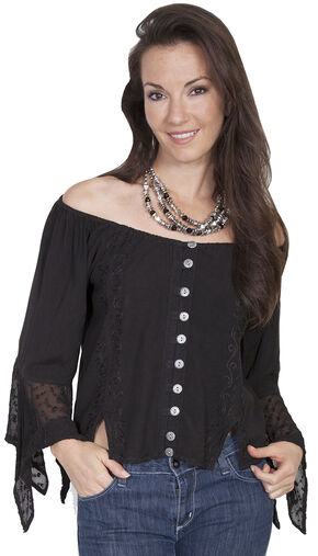 Scully Women's Off-the-Shoulder Lace Blouse, Black, hi-res