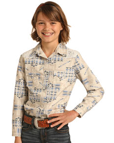 Rock & Roll Denim Girls' Ivory Triangle Lace Yoke Long Sleeve Western Shirt , Ivory, hi-res