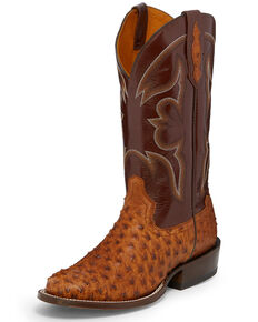 Tony Lama Men's Ronnie Full Quill Ostrich Western Boots - Round Toe, Cognac, hi-res