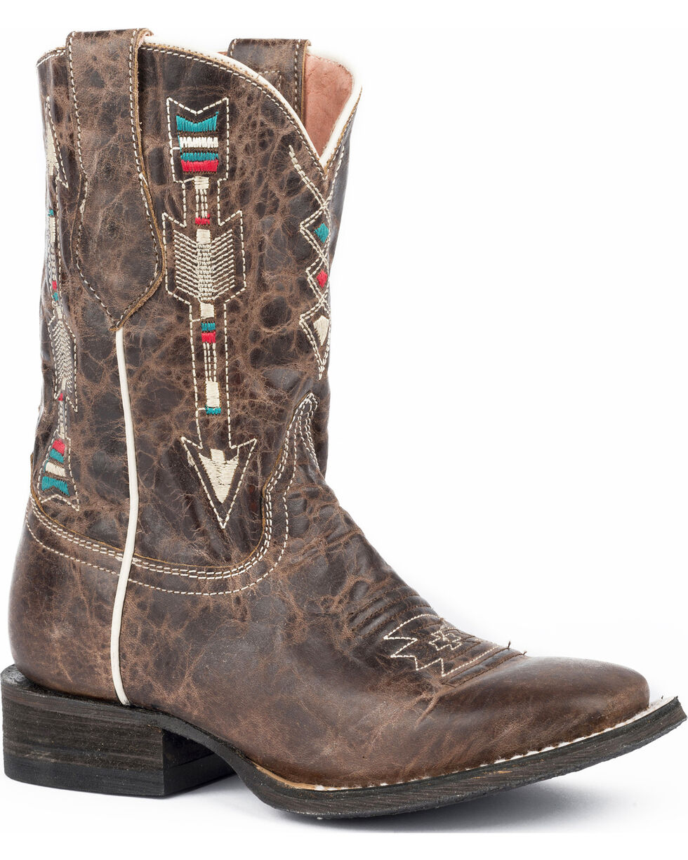 Roper Girls' Arrows Burnished Brown Leather Cowgirl Boots - Square Toe, , hi-res