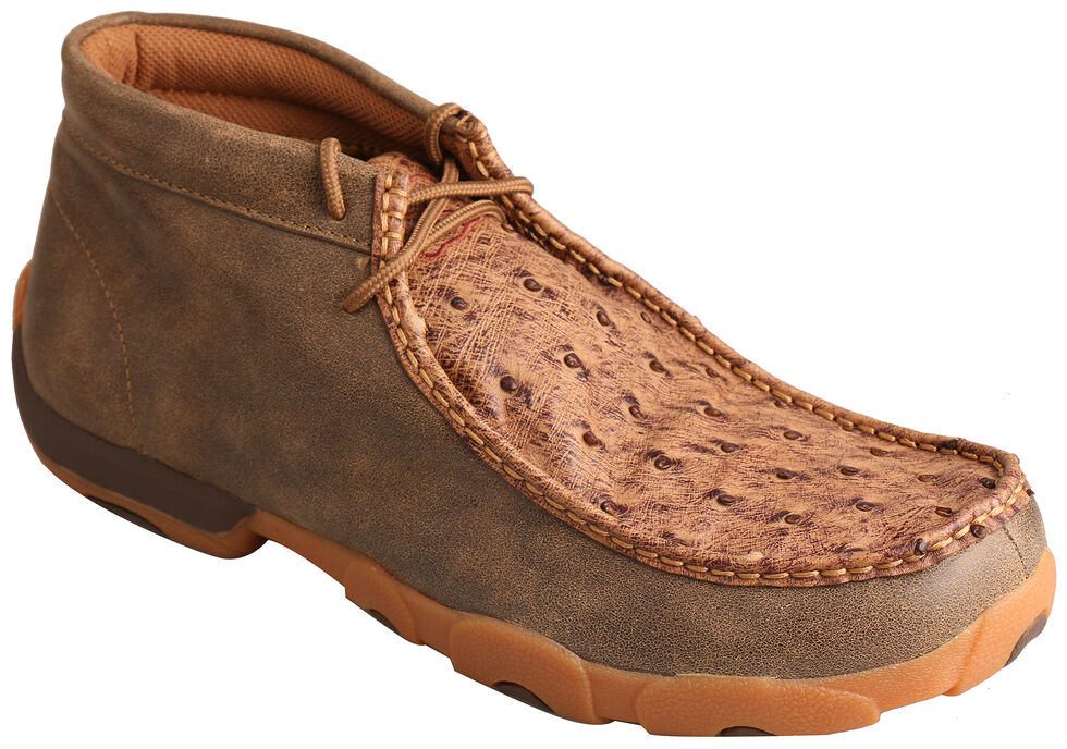 Twisted X Men's Bomber Brown Full Quill Ostrich Driving Mocs  , Brown, hi-res