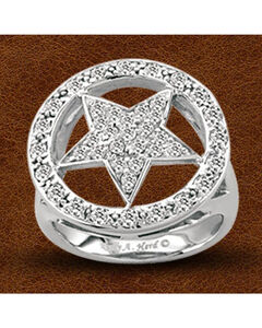Kelly Herd Sterling Silver Crystal Circle Star Ring, Silver, hi-res