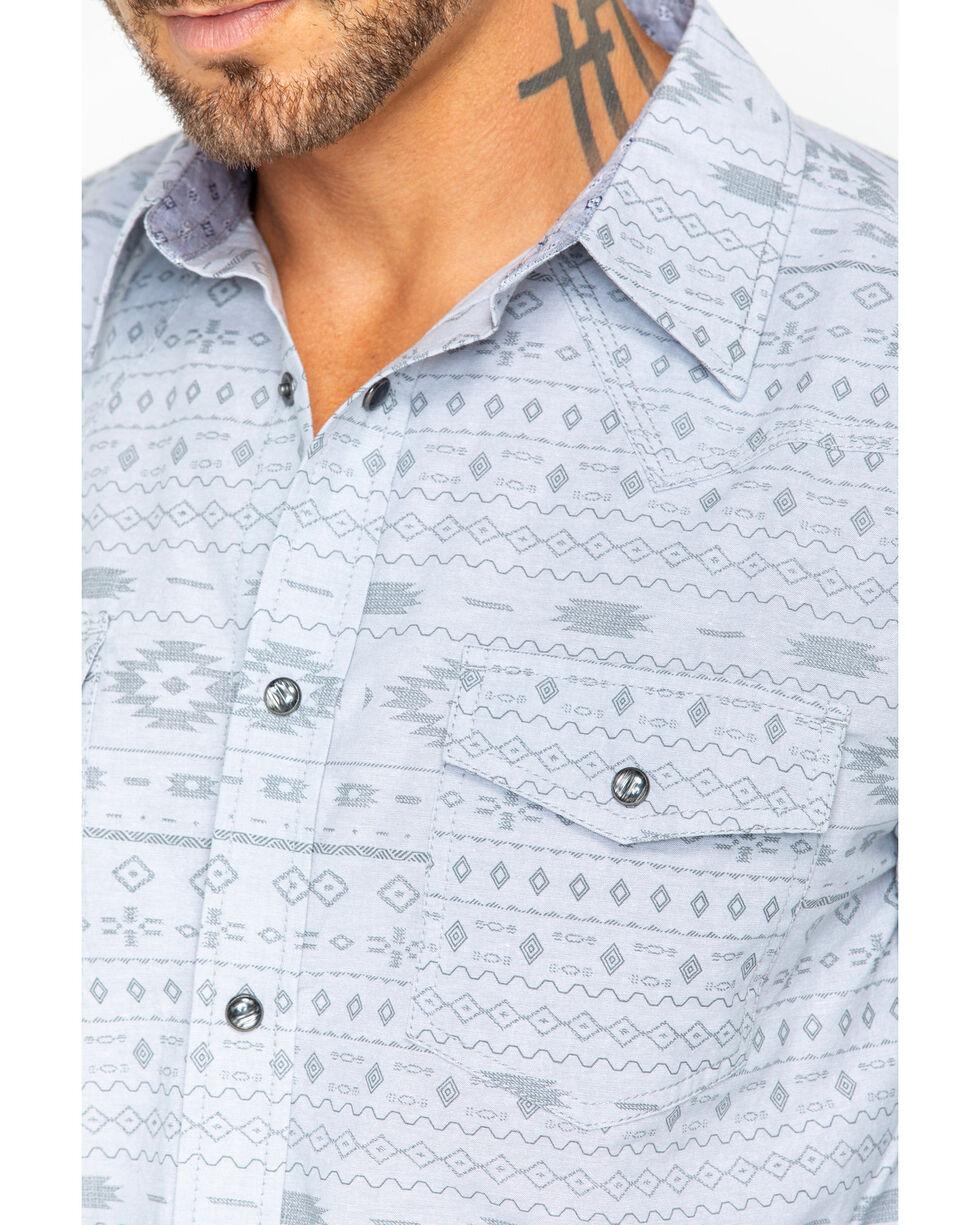 Moonshine Spirit Men's Geronimo Aztec Print Long Sleeve Western Shirt, Light Blue, hi-res