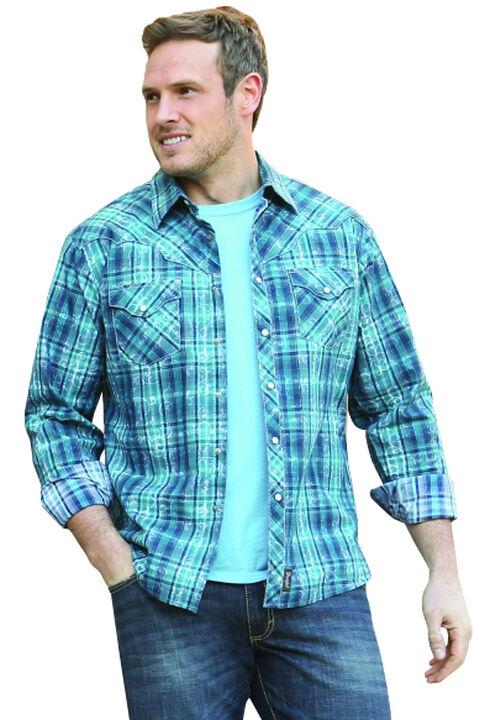 Wrangler Retro Men's Long Sleeve Blue Plaid Snap Shirt, Blue, hi-res