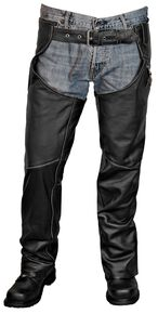 Interstate Leather Gangster Chaps, Black, hi-res