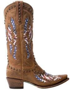 Lane Women's Old Glory Burnt Caramel Western Boots - Snip Toe, Brown, hi-res