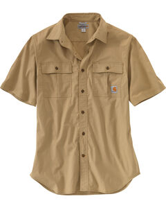 Carhartt Men's Foreman Short Sleeve Work Shirt - Big & Tall, Beige, hi-res