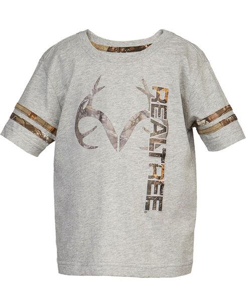 Realtree Boys' Camp Logo Short Sleeve Shirt, Grey, hi-res