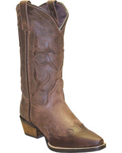 Rawhide by Abilene Boots Women's Cutout Wingtip Cowgirl Boots - Snip Toe, Brown, hi-res