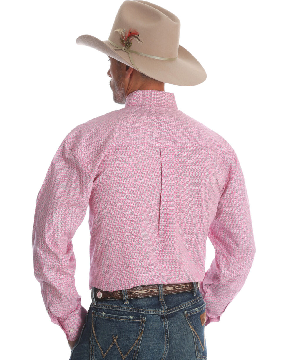 Wrangler Men's Tough Enough To Wear Pink Western Shirt , Pink, hi-res