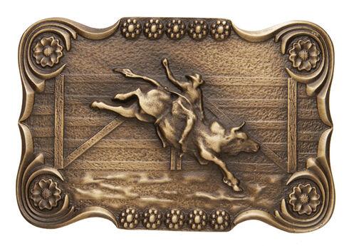 AndWest Men's Scalloped Bull Rider Belt Buckle, Brass, hi-res