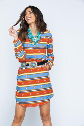 Ryan Michael Indigo Serape Stripe Dress , Indigo, hi-res