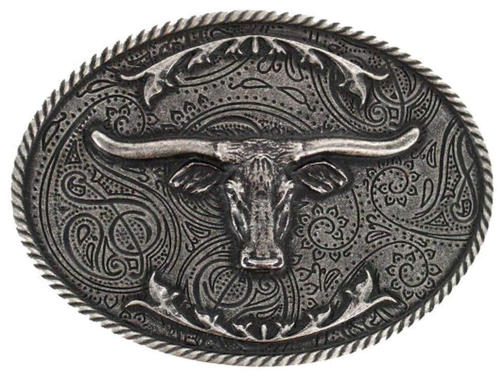 Cody James Men's Etched Longhorn Buckle, Silver, hi-res