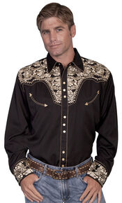 Scully Men's Embroidered Retro Western Shirt - Big & Tall, Gold, hi-res