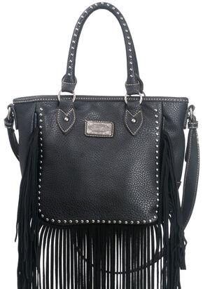 Montana West Trinity Ranch Fringe Design Handbag, Black, hi-res