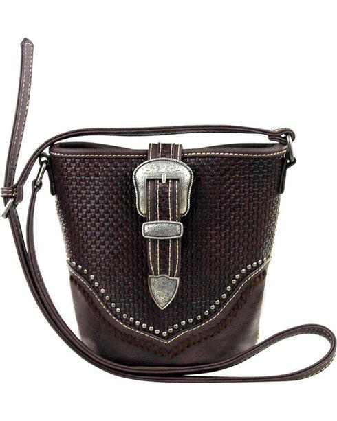 Trinity Ranch Women's Coffee Basketweave Handbag , Taupe, hi-res