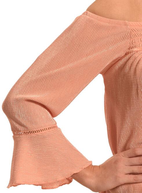 Derek Heart Women's Coral Smocked Off Shoulder 3/4 Cuff Sleeve Shirt , Coral, hi-res