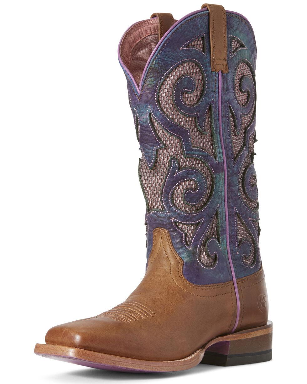 Ariat Women's VentTEK Baja Oxford Western Boots - Wide Square Toe, Tan, hi-res