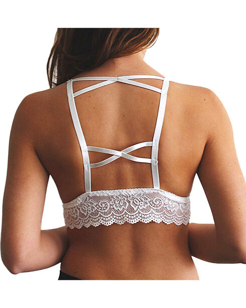 Fornia Women's White Lace Trim Padded Bralette, White, hi-res