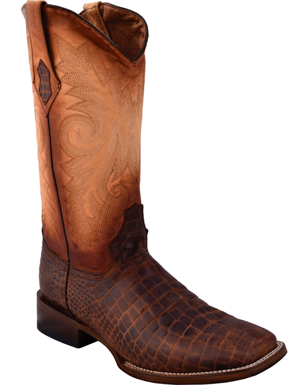 Ferrini Men's Caiman Belly Print Distressed Brown Cowboy Boots -  Square Toe, Distressed Brown, hi-res