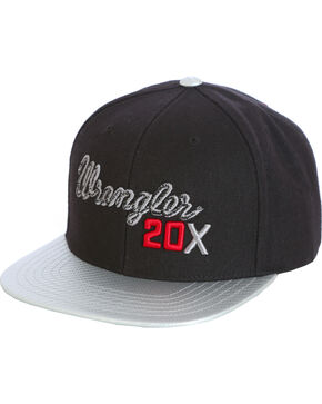 Wrangler Men's Black 20X Flat Bill Baseball Cap , Black, hi-res