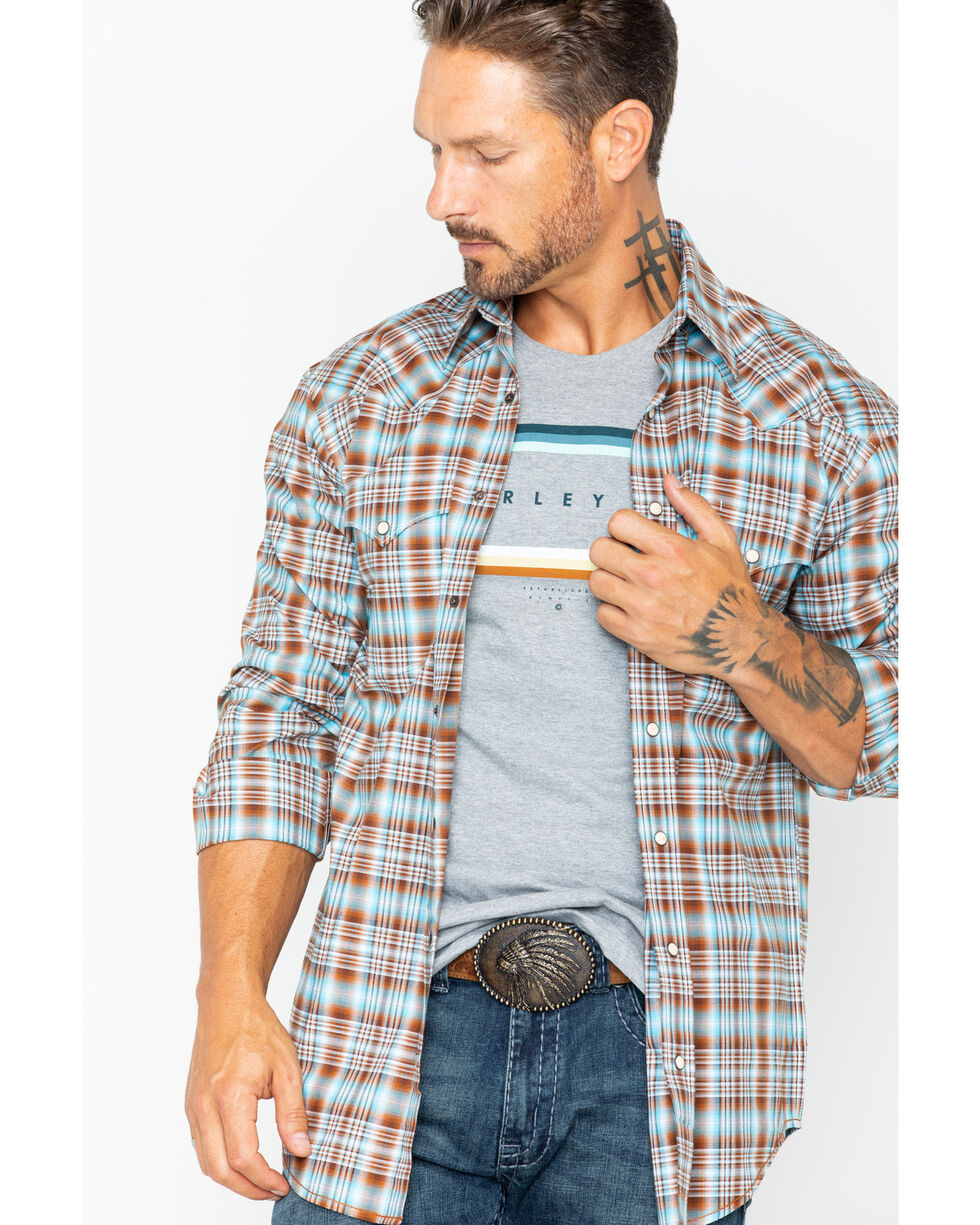 Rough Stock by Panhandle Men's Bangor Vintage Ombre Plaid Long Sleeve Shirt, Brown, hi-res