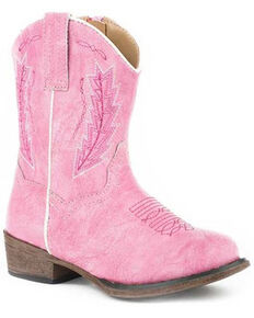 Roper Toddler Girls' Taylor Western Boots - Round Toe, Pink, hi-res