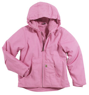 Carhartt Girls' Sherpa Lined Canvas Jacket - 4-7, Pink, hi-res